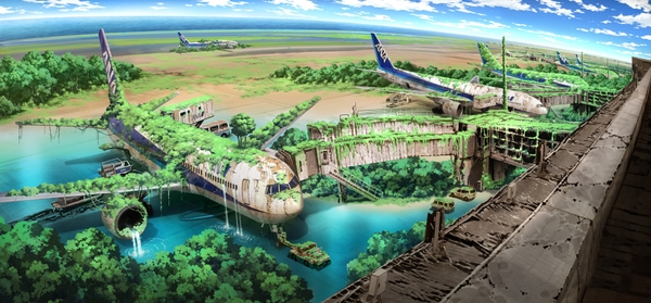 landscapes aircraft tokyo trees ruins postapocalyptic fantasy art airports artwork jet aircraft ivy abandoned flooded overgrowth tokyogenso_www.wall321.com_11