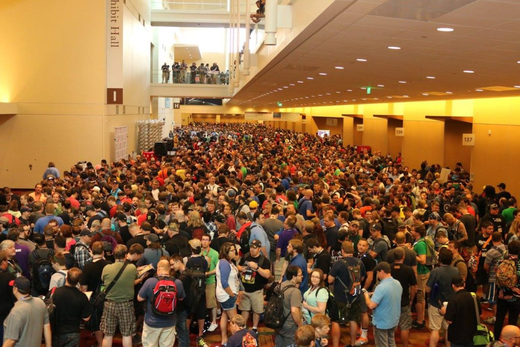 Gen Con 2016, before the exhibit hall opens. Image courtesy of Gen Con's official facebook page.